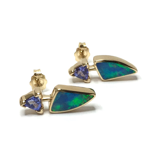 Opal Earrings Triangle Inlaid Trillion Cut Tanzanite Studs 14k Yellow Gold
