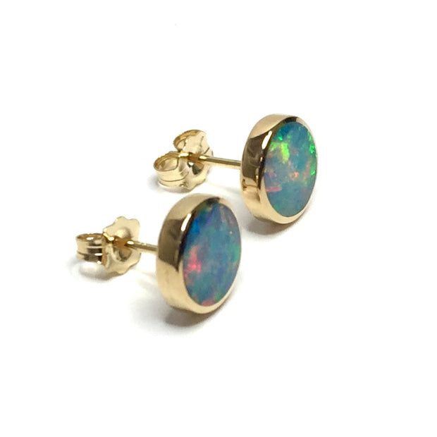 SUPERIOR QUALITY OPAL ROUND 9MM INLAID EARRINGS