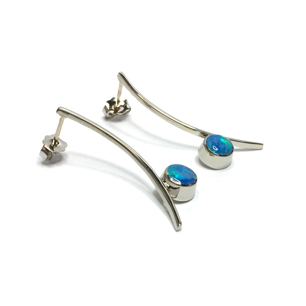 FINE QUALITY OPAL ROUND INLAY CURVED BAR EARRINGS