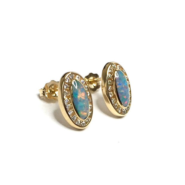 Opal Earrings Oval Inlaid .25ctw Round Diamond Halo Studs 14k Yellow gold