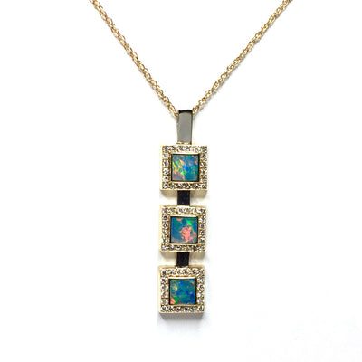 SUPERIOR QUALITY NATURAL OPAL INLAID PENDANT