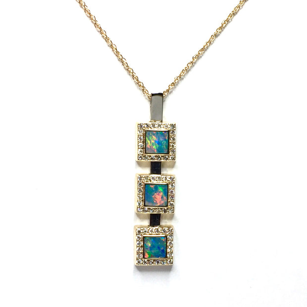 Opal pendant 3 Square Inlaid Design .43ctw Round Diamonds Halo 14k Yellow Gold