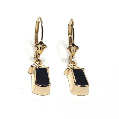 ONYX INLAID LEVERBACK EARRINGS