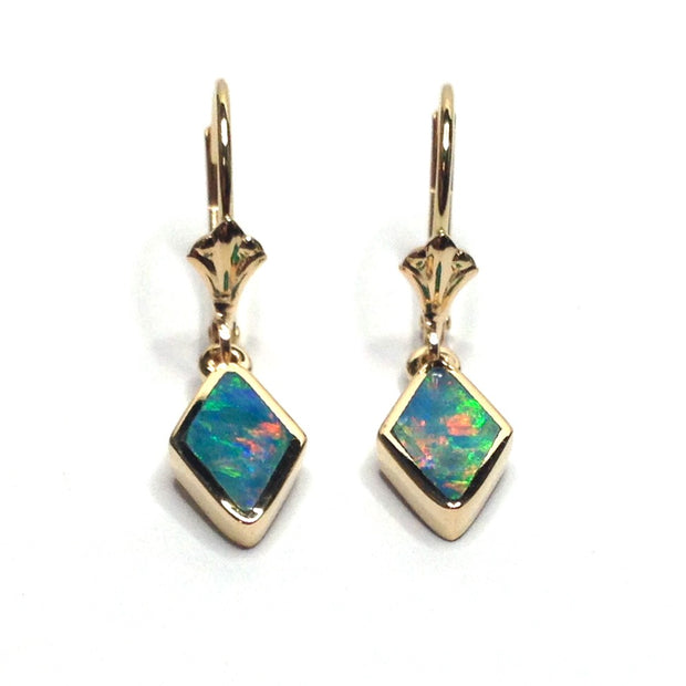 SUPERIOR QUALITY OPAL DIAMOND SHAPE INLAID LEVER BACK EARRINGS