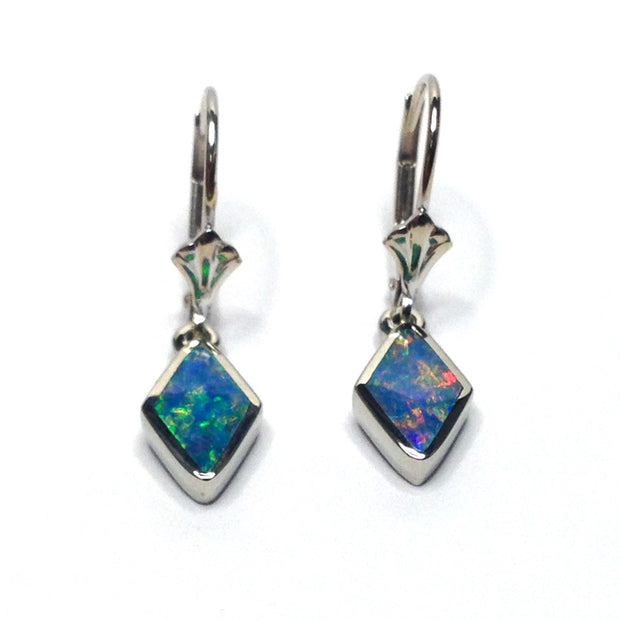 Opal Earrings Diamond Shape Inlaid Lever Backs 14k White Gold