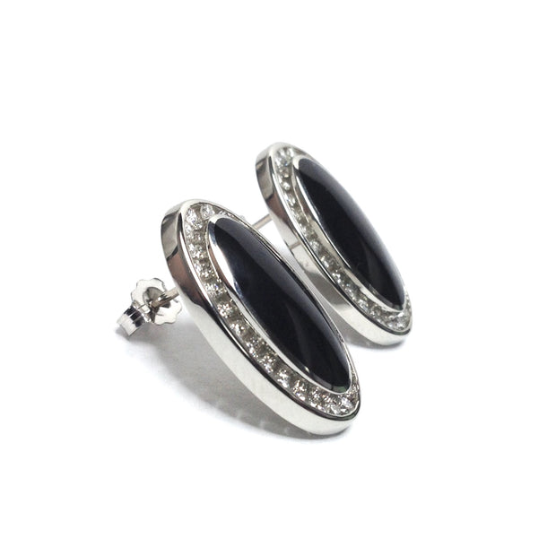 ONYX OVAL INLAID .73ctw DIAMOND EARRINGS