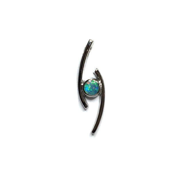 FINE QUALITY OPAL ROUND INLAY DOUBLE CURVED BAR PENDANT