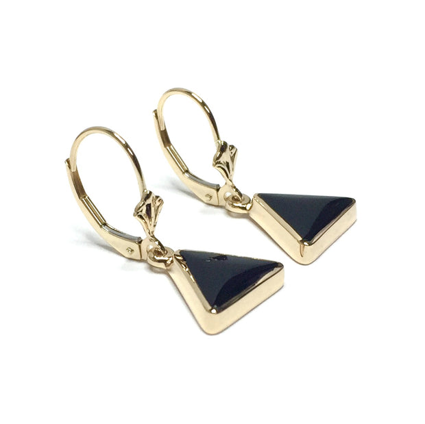 ONYX INLAID LEVER BACK EARRINGS