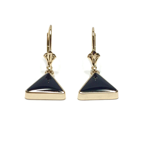 ONYX TRIANGLE INLAID LEVER BACK EARRINGS