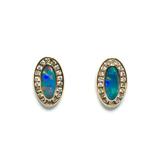 Opal Earrings Oval Inlaid Design .37ctw Round Diamonds Halo 14k Yellow Gold