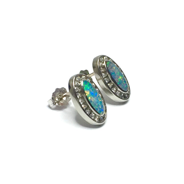 SUPERIOR QUALITY OPAL OVAL INLAID .25ctw DIAMOND EARRINGS