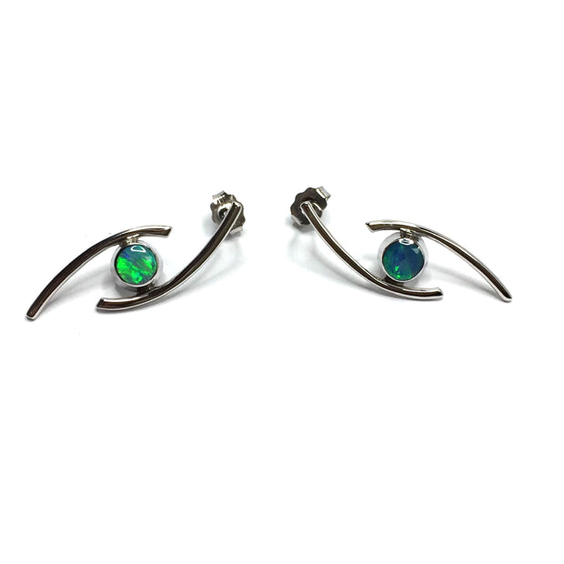 Opal Earrings Round Inlaid Double Curved Bar Design Studs 14k White Gold