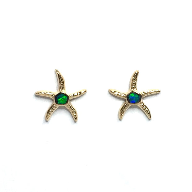 Opal Earrings Inlaid Realistic Star Fish Design Studs 14k Yellow Gold
