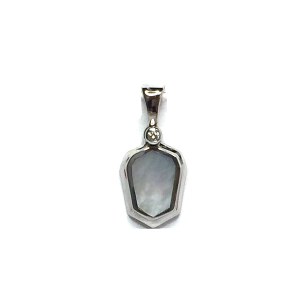 MOTHER OF PEARL SHIELD DESIGN INLAID .02ct DIAMOND PENDANT