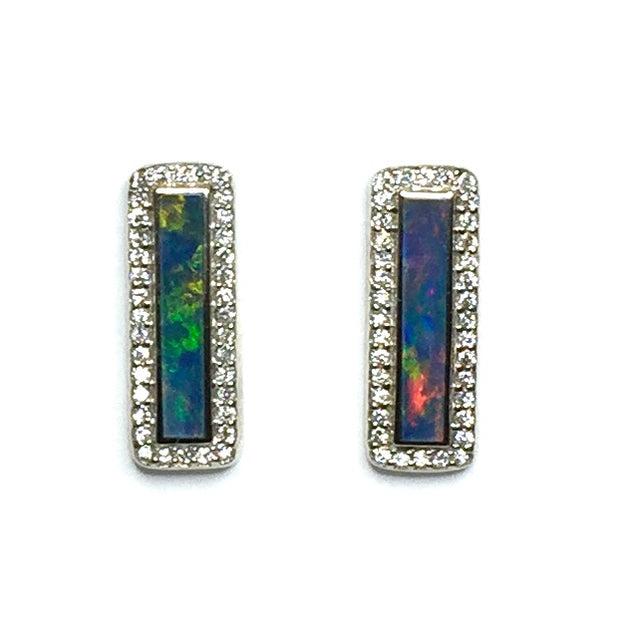 Opal Earrings Rectangle Inlaid .50ctw Round Diamond Halo Studs 14k White Gold