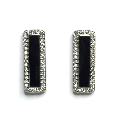 ONYX RECTANGLE INLAID .50ctw DIAMOND EARRINGS