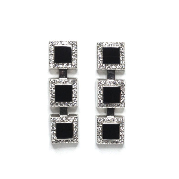 ONYX SQUARE 3 SECTION INLAID .84ctw DIAMOND EARRINGS