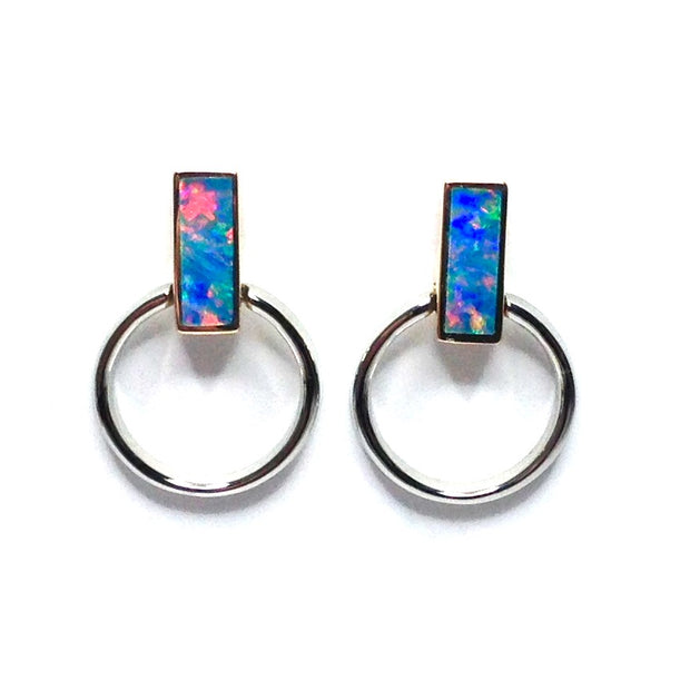 SUPERIOR QUALITY OPAL RECTANGLE INLAY KNOCKER DESIGN EARRINGS