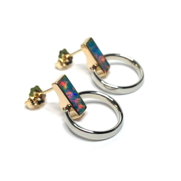Opal Earrings Rectangle Inlaid Knocker Design Studs 14k Gold