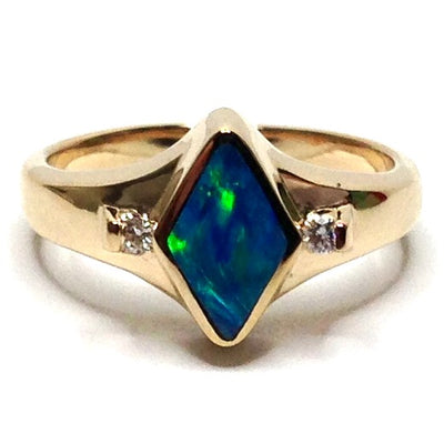 SUPERIOR QUALITY OPAL DIAMOND SHAPE INLAID .05ctw DIAMOND RING