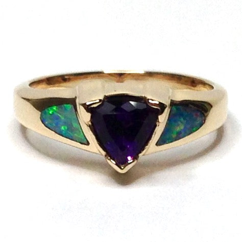 14k Yellow Gold Natural Australian Opal Rings 2 Section Inlaid with Trillion Cut Amethyst