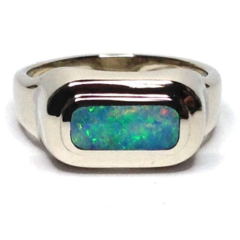 Opal Rings Oval Inlaid Design 14k White Gold