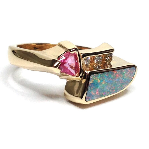 Opal Rings Inlaid Design Trillion Cut Pink Sapphire .08ctw Round Diamdons 14k Yellow Gold