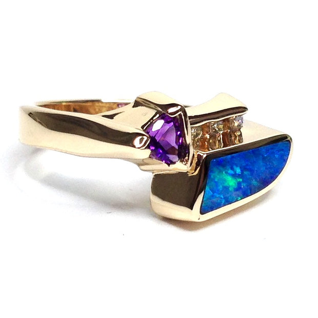 Opal Rings Inlaid Design Trillion Cut Amethyst .08ctw Round Diamonds 14k Yellow Gold