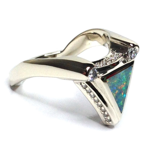 Natural Australian Opal Rings Triangle Inlaid ..31ctw Round Diamonds 14k White Gold