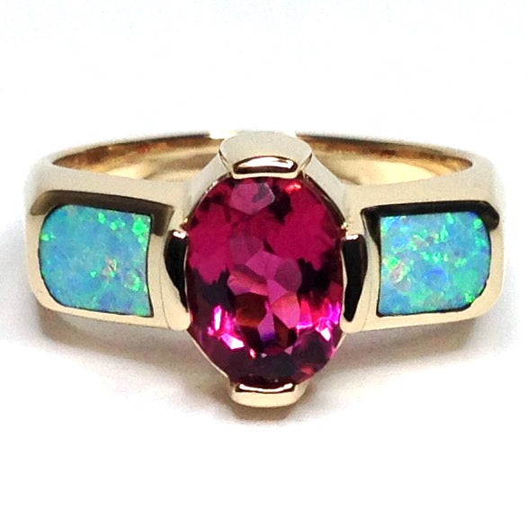FINE QUALITY OPAL 2 SECTION INLAID AND OVAL PINK TOURMALINE RING