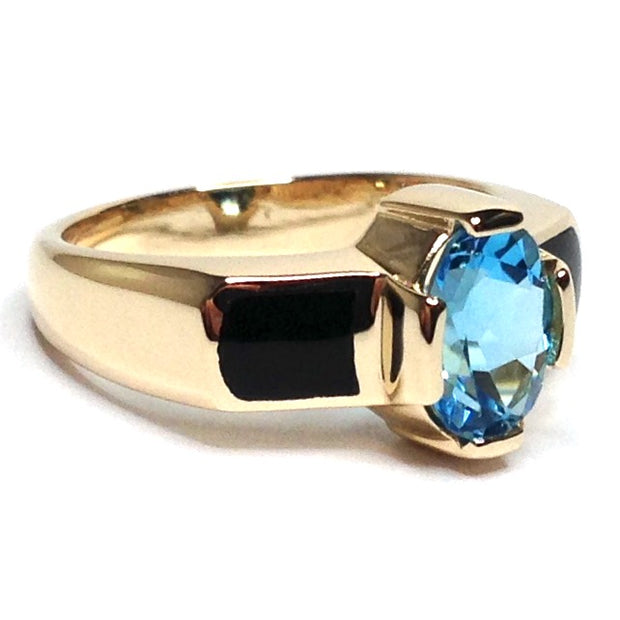ONYX 2 SECTION INLAID AND OVAL SWISS BLUE TOPAZ RING