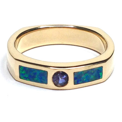 SUPERIOR QUALITY OPAL 2 SECTION INLAID AND TANZANITE BAND