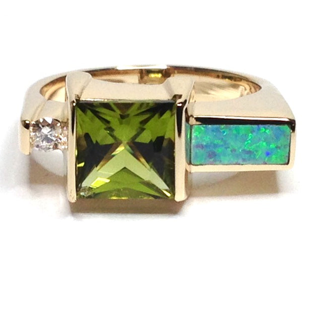 Opal Rings Rectangle Inlaid Princess Cut Peridot .06ct Round Diamond 14k Yellow Gold