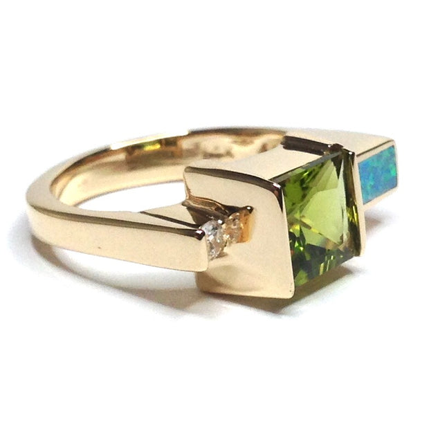 SUPERIOR QUALITY OPAL RECTANGLE INLAID PERIDOT AND .06ctw DIAMOND RING