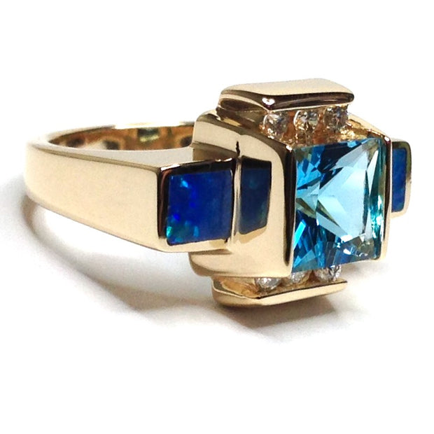 Natural Australian Opal Rings 2 Section Inlaid Swiss Blue Topaz Center .24ctw Round Diamonds 14k Yellow Gold