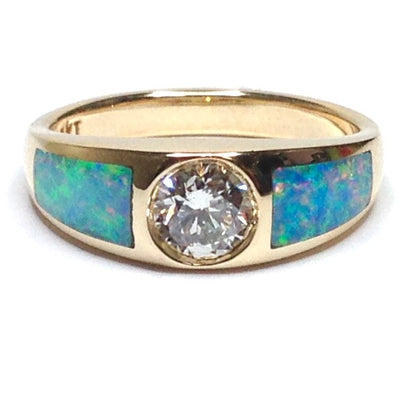 SUPERIOR QUALITY NATURAL OPAL INLAID RING