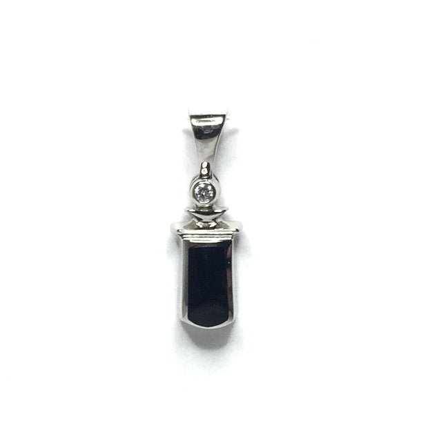 ONYX INLAID .02ct DIAMOND PENDANT