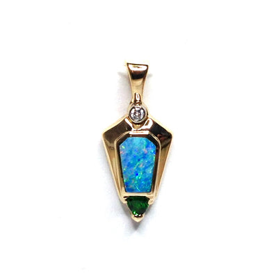 FINE QUALITY NATURAL OPAL INLAID PENDANT