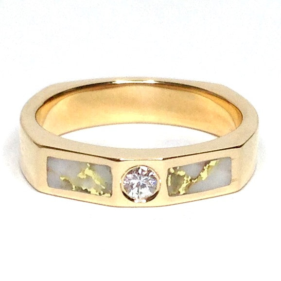Gold Quartz Ring Double Sided Inlaid .10ct Round Diamond 14k Yellow Gold