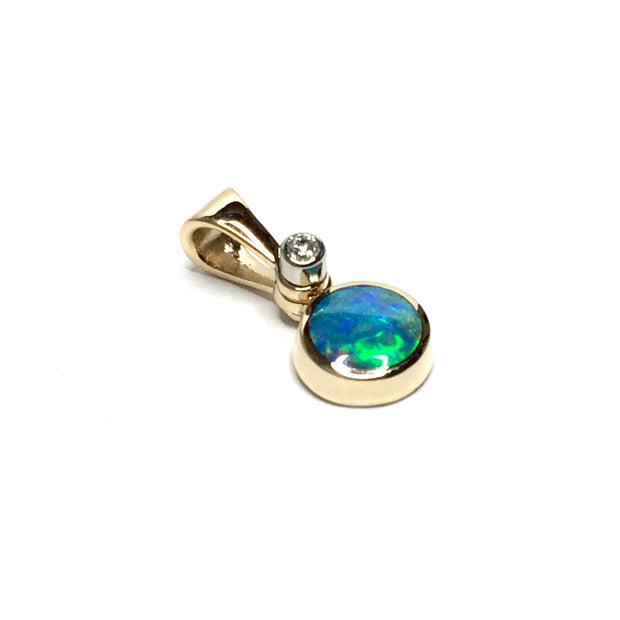 Opal Pendant Round Inlaid Design .02ct Round Diamond 14k Yellow Gold