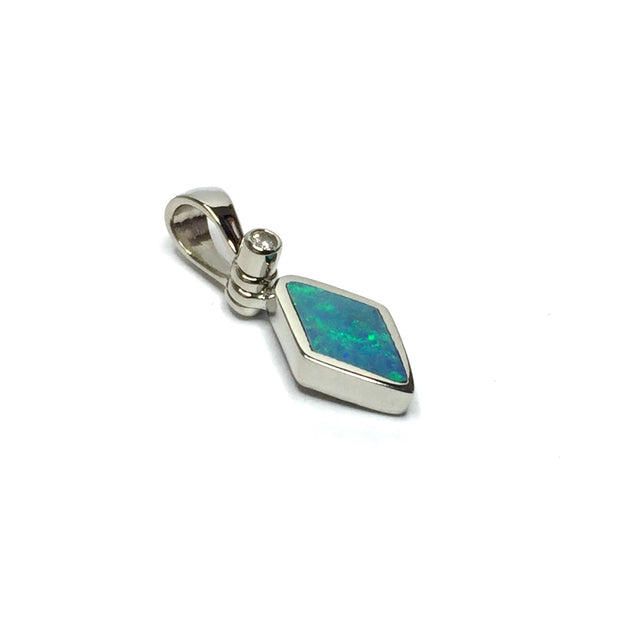 Natural Australian Opal Pendant Diamond Shape Inlaid Design .02ct Round Diamond 14k White Gold