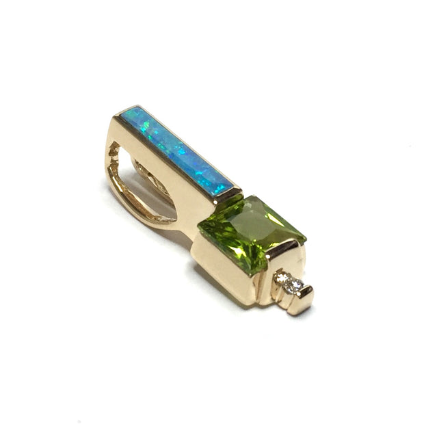 Opal pendant rectangle inlaid design princess cut peridot .03ct round diamond 14k Yellow gold