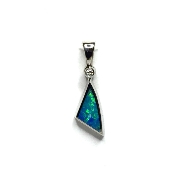 Opal Pendant Triangle Inlaid Design .02ct Round Diamond 14k White Gold