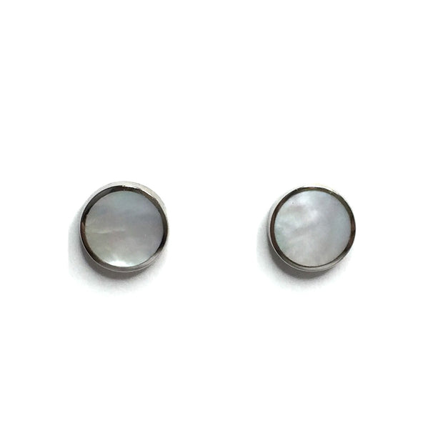 MOTHER OF PEARL ROUND INLAID 9MM EARRINGS