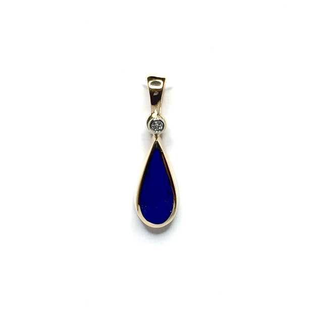 LAPIS TEAR DROP INLAID .02ctw DIAMOND PENDANT