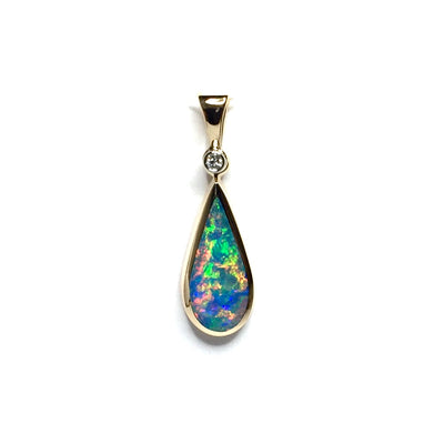 Opal Pendant Tear Drop Inlaid Design .02ct Round Diamond 14k Yellow Gold