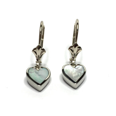 MOTHER OF PEARL HEART SHAPE INLAID EARRINGS