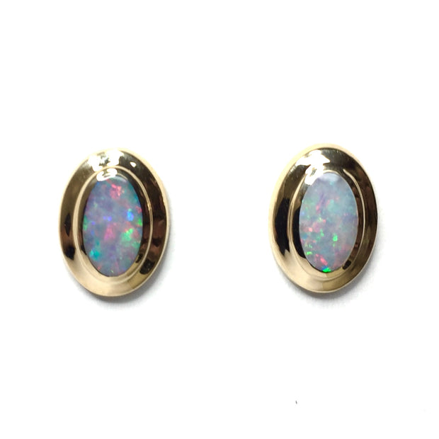 FINE QUALITY OPAL OVAL INLAID EARRINGS