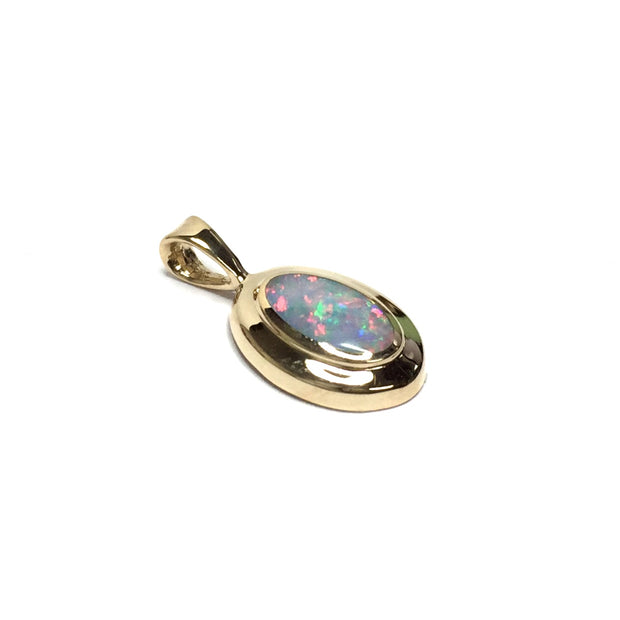 Natural Australian Opal Pendant Oval Inlaid Design 14k Yellow Gold