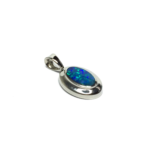 Opal Pendant Oval Inlaid Design 14k White Gold